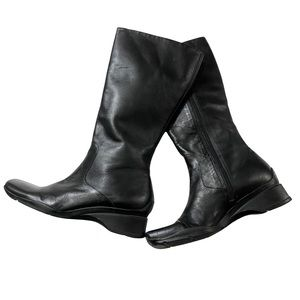 Cathy Jean Black Leather Square Toe Boots Wedge